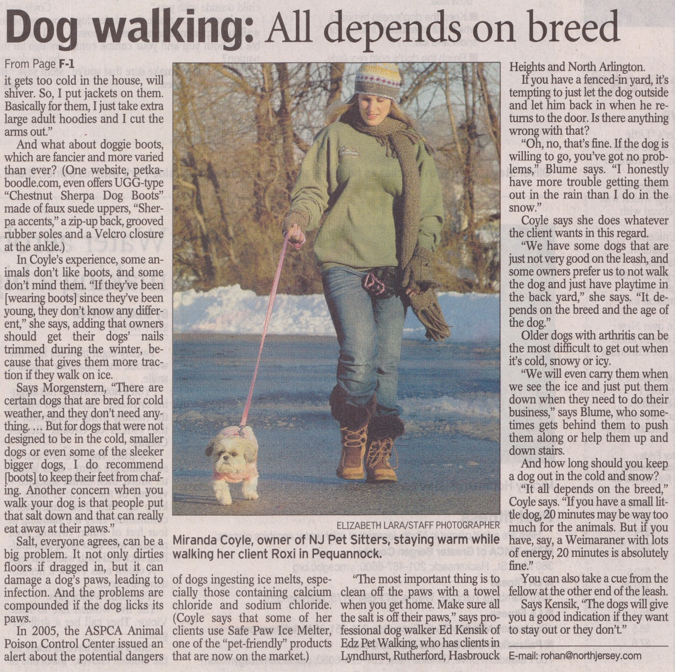 NJ Pet Sitters Daily Record Inside Page